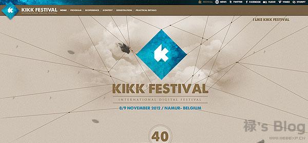 开动大脑!20个顶尖的HTML5动画网站欣赏!9.KiKK Festival
