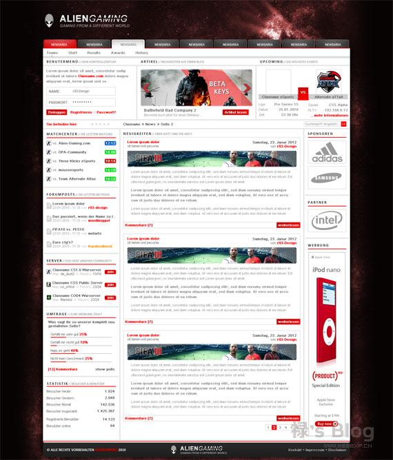 灵感的干货!46个为你带来灵感的游戏网站设计!Alien Gaming by r93-design