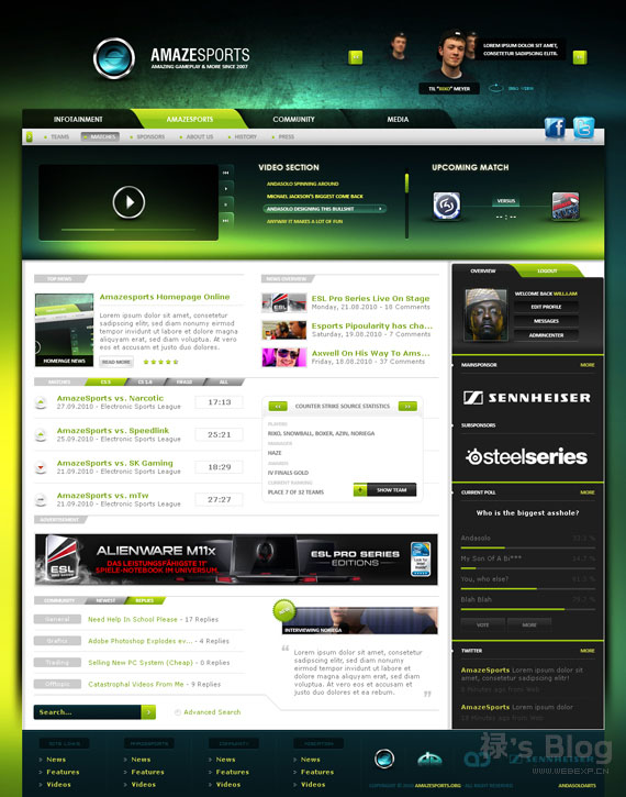 灵感的干货!46个为你带来灵感的游戏网站设计!AmazeSports by AndasoloARTS