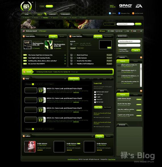 灵感的干货!46个为你带来灵感的游戏网站设计!Area 51 Gaming by AquaDesiree