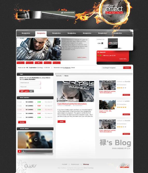 灵感的干货!46个为你带来灵感的游戏网站设计!Effect Gaming by RomiSh