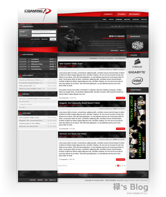 灵感的干货!46个为你带来灵感的游戏网站设计!Id Gaming by ~Seeki
