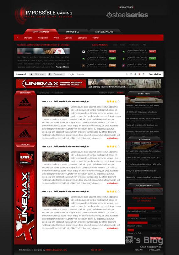 灵感的干货!46个为你带来灵感的游戏网站设计!Impossible Gaming by iSHOKZ