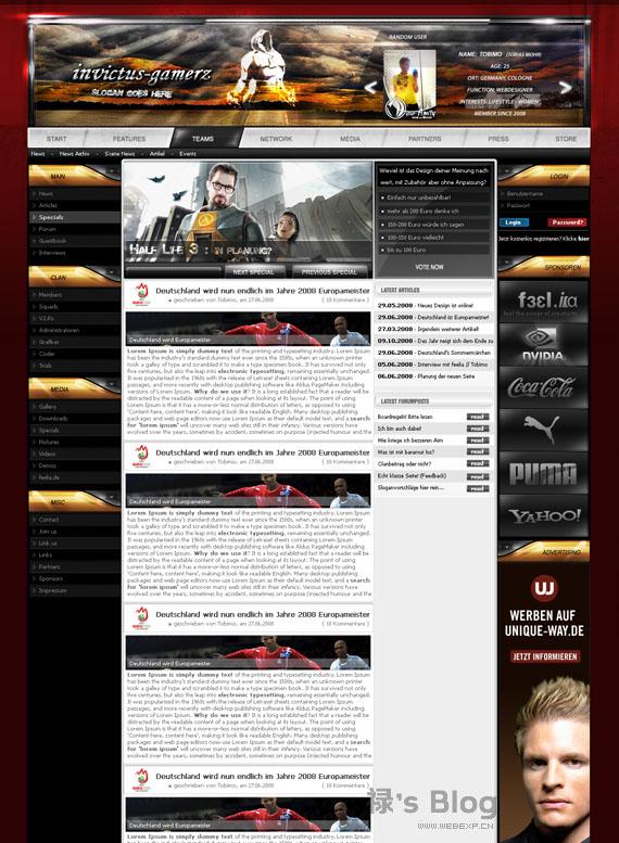 灵感的干货!46个为你带来灵感的游戏网站设计!DInvictus by tobimo