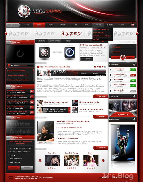灵感的干货!46个为你带来灵感的游戏网站设计!NeXus Gaming by AndasoloARTS