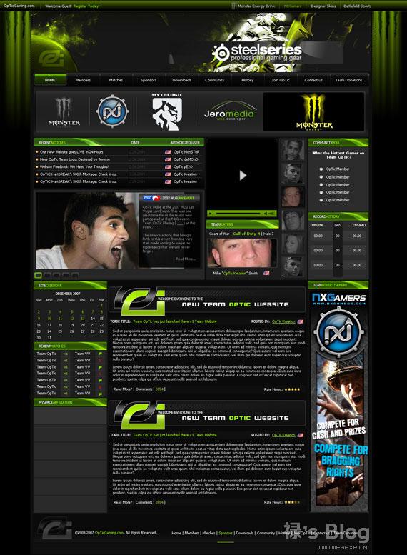 灵感的干货!46个为你带来灵感的游戏网站设计!Team Optic Gaming by Jerome118