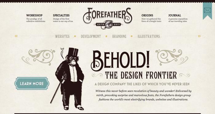 32个超赞复古网站设计,最时尚的复古风设计灵感!Forefathers Group