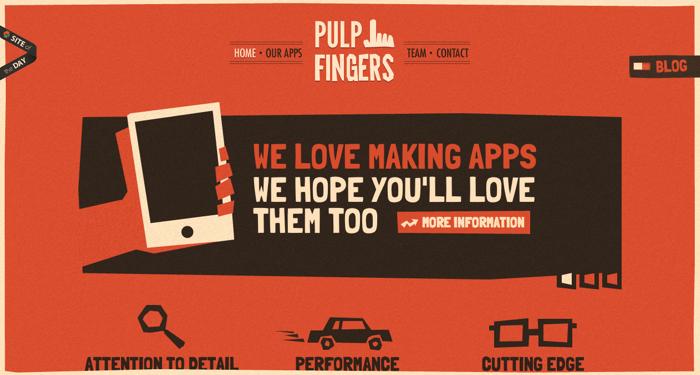 32个超赞复古网站设计,最时尚的复古风设计灵感!Pulp Fingers