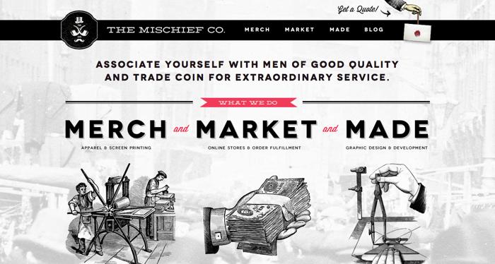 32个超赞复古网站设计,最时尚的复古风设计灵感!The Mischief Co