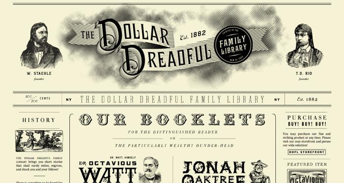 32个超赞复古网站设计,最时尚的复古风设计灵感!The Dollar Dreadful